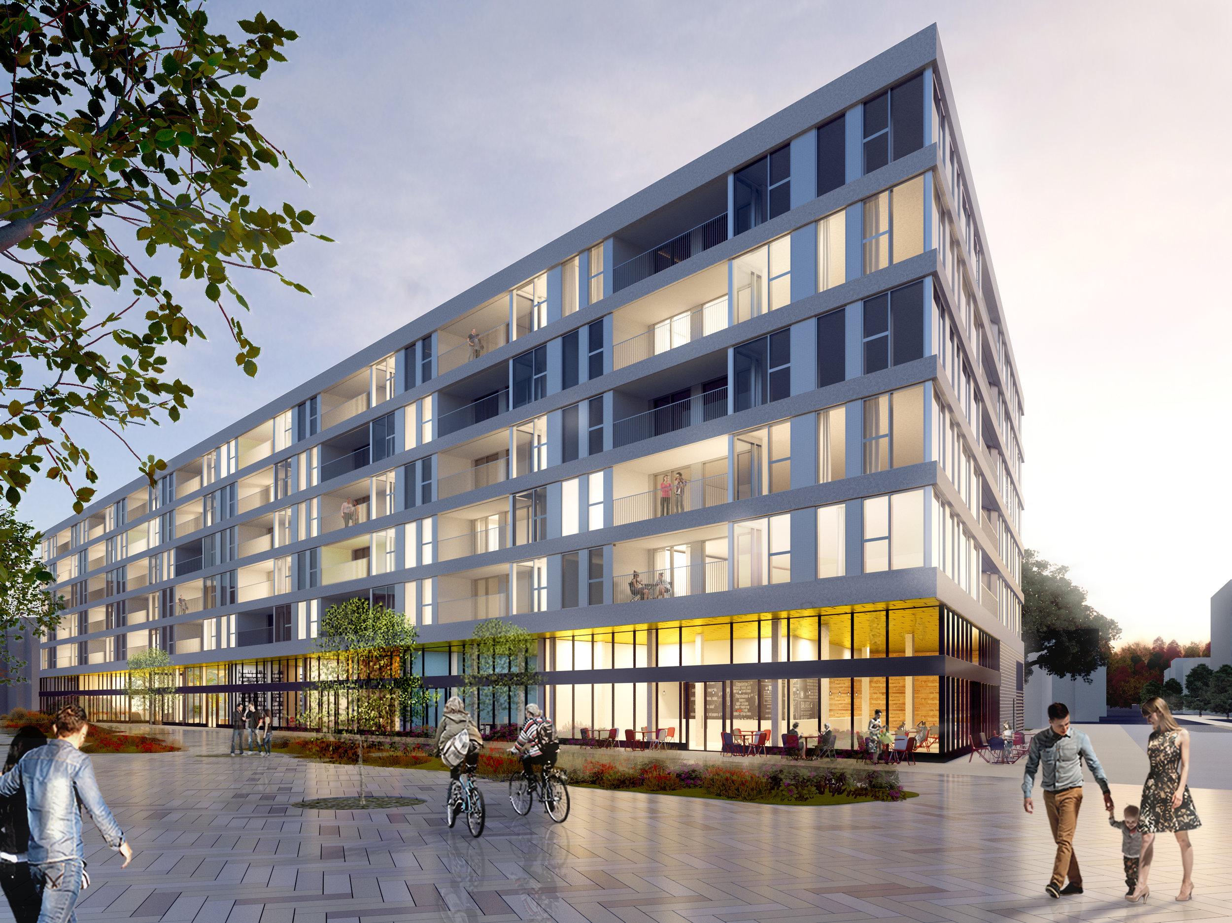 960 avenue Outremont – ICMG Holding   Projet mixte résidentiel et commercial dont le rez-de-chaussée de 1850 m2 donne accès au hall d'entrée pour les 106 unités locatives réparties sur cinq étages, à l'aire de chargement et à un niveau de stationnement souterrain. Une toiture végétale est prévue au niveau 2.