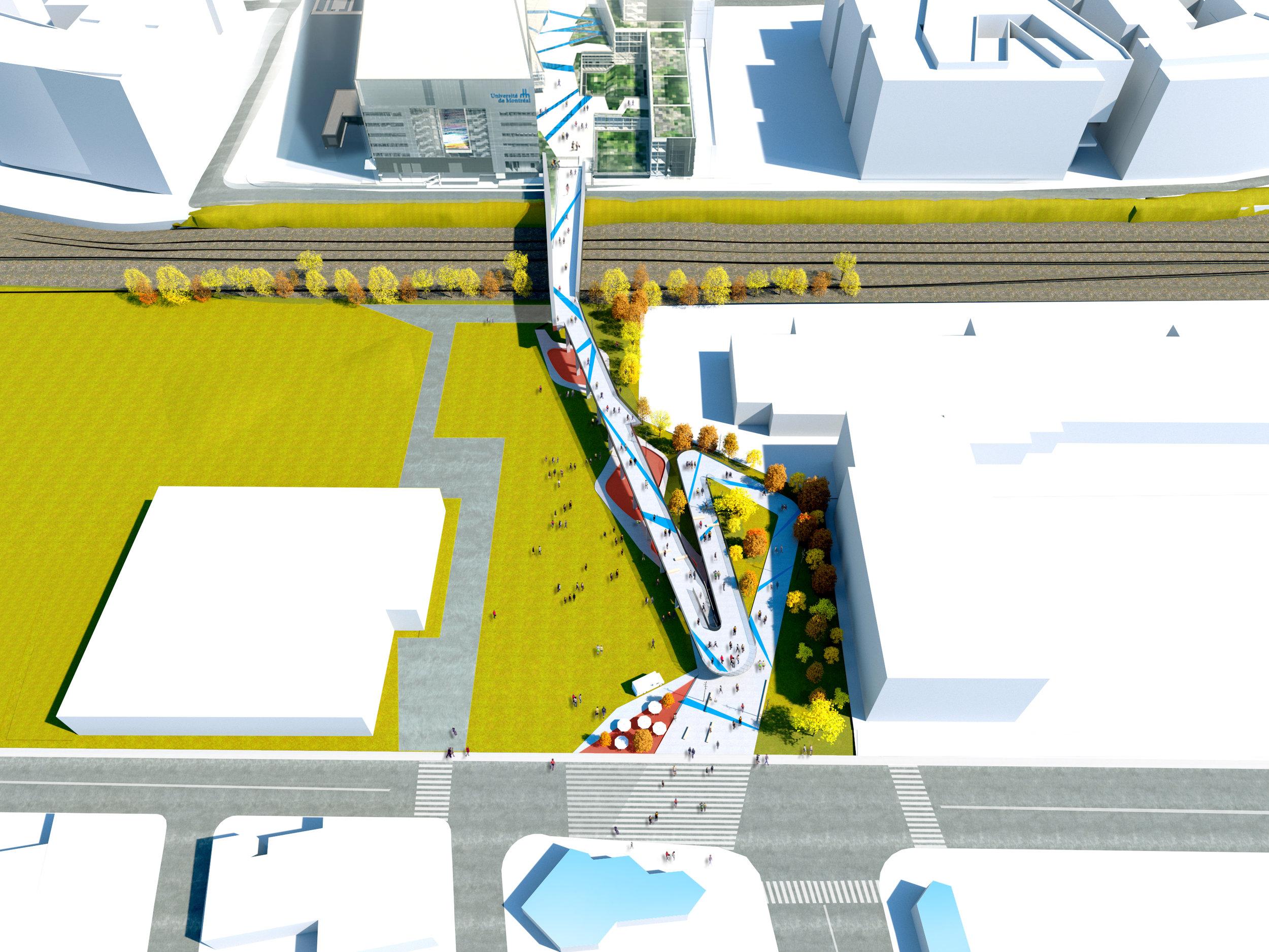 Passerelle – Campus MIL   Lien piétonnier [passerelle-rampe pour piétons] dans le cadre du projet du campus MIL, reliant le Complexe des sciences au 1000 Beaumont et à la station de métro Acadie.   Partenaires : Lemay et NFOE