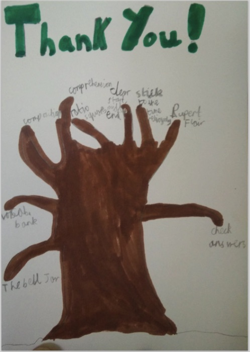 A 'tree' detailing all the most important things I taught him for the 10+ exam.