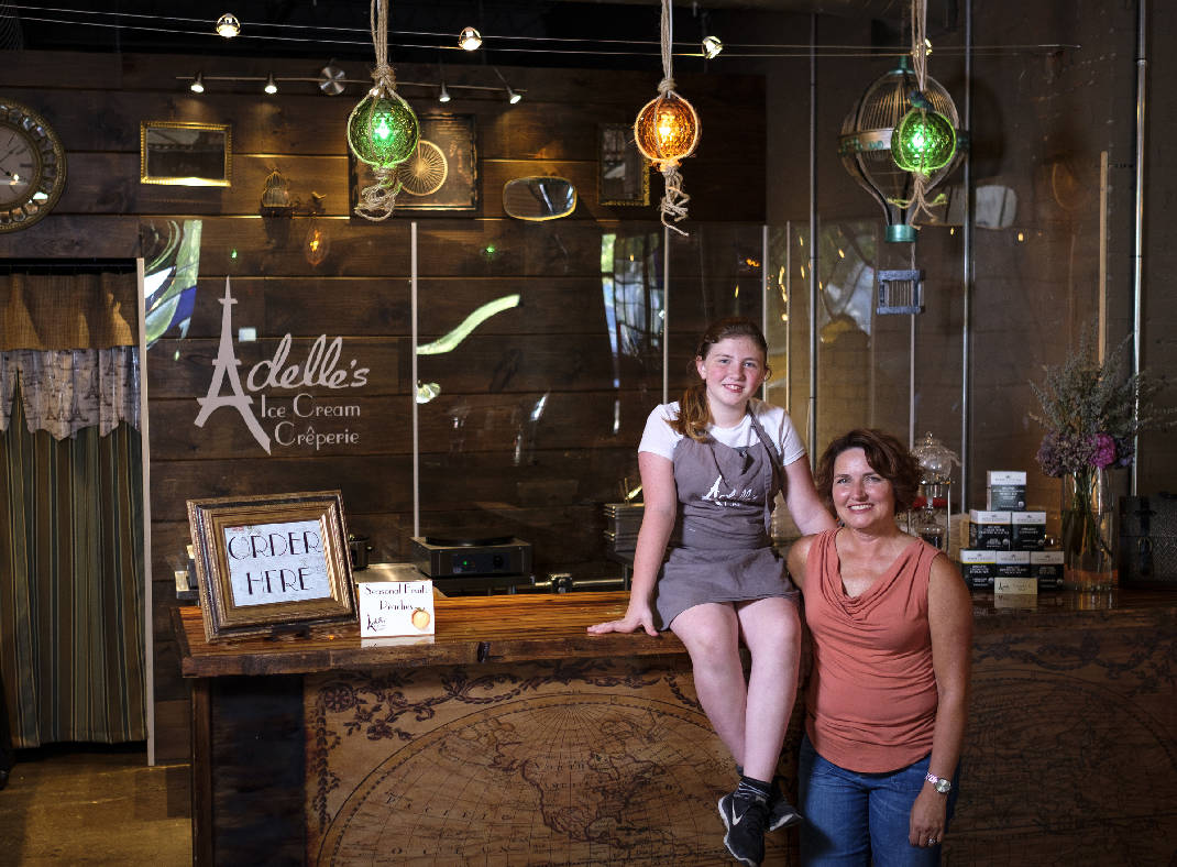 Co-owners Adelle Pritchard, left, and her mother Carla pose for a photo at Adelle's Ice Cream Creperie inside the Granfalloon event space on Friday, July 1, 2016, in Chattanooga, Tenn.  Photo by   Doug Strickland   /Times Free Press.