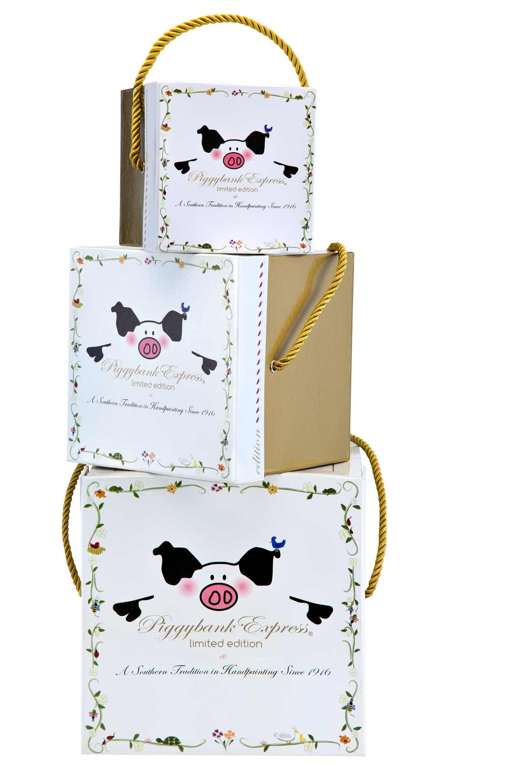 Piggy Bank Gift Box - Each piggy comes with it's own beautiful gift box you'll want to keep. Each is lined with black satin in which the piggy is snuggly placed for safe shipping.