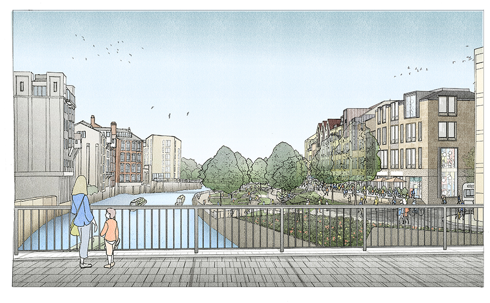 Bath Quays North – illustrative view from Churchill Bridge. Artist's impression of how a future scheme could look