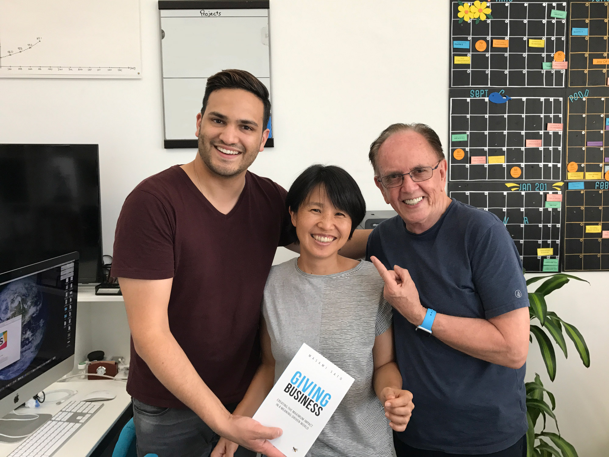 Nathan Shooter with Masami Sato and Paul Dunn at the B1G1 HQ in Singapore.