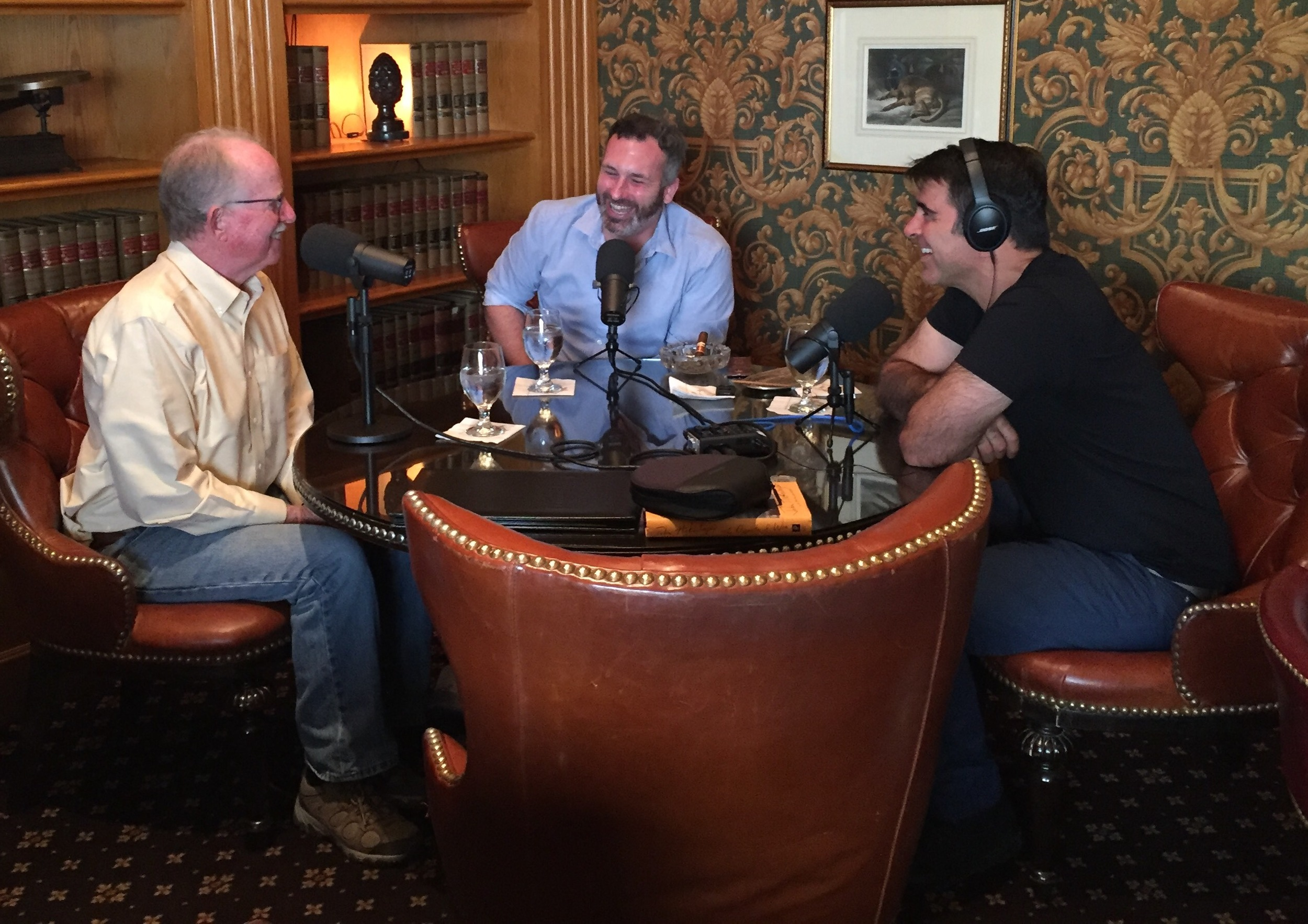 Dick Kreck speaks with Ben Sawyer and Bob Crawford at the historic Brown Palace Hotel.