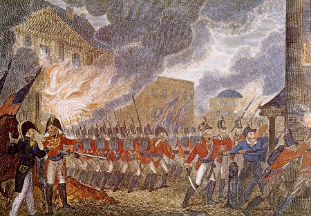 An illustration of the British burning the White House from the 1816 book, The History of England, from the Earliest Periods, Volume 1 by Paul M. Rapin de Thoyras.