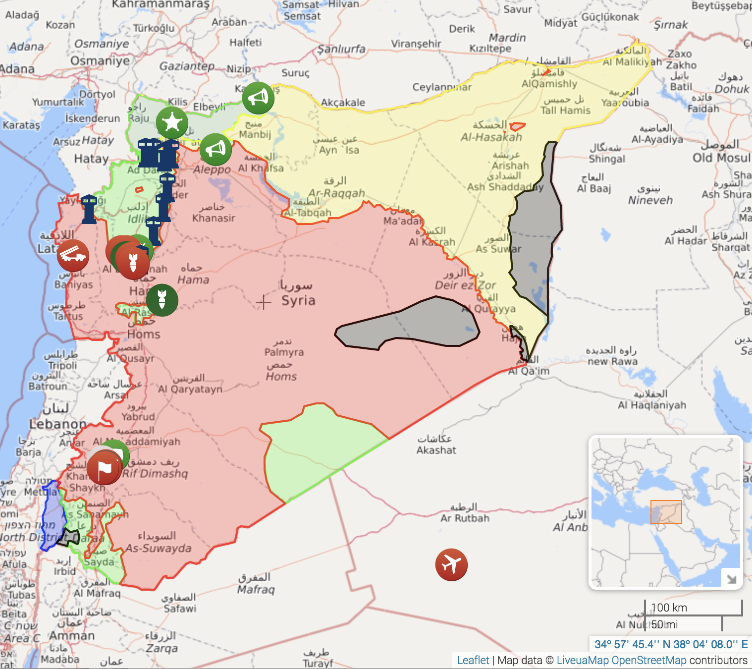 The live map of Syria that Sean mentions in this episode can be found at  https://syria.liveuamap.com/ . This image is a copy of the map as of April 26, 2018 at 10:20pm EST.