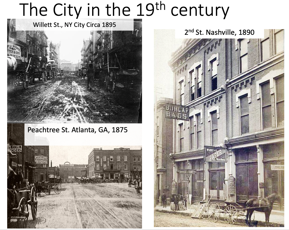 In the late 19th and early 20th centuries, cities were filthy. The streets were not paved, and when it rained, the mud mixed with horse manure to create a big mess. A banana peel on a sidewalk could be difficult to see, and when placed on top of the slippery mud/manure mix, it could cause a lot of trouble to an unsuspecting pedestrian.