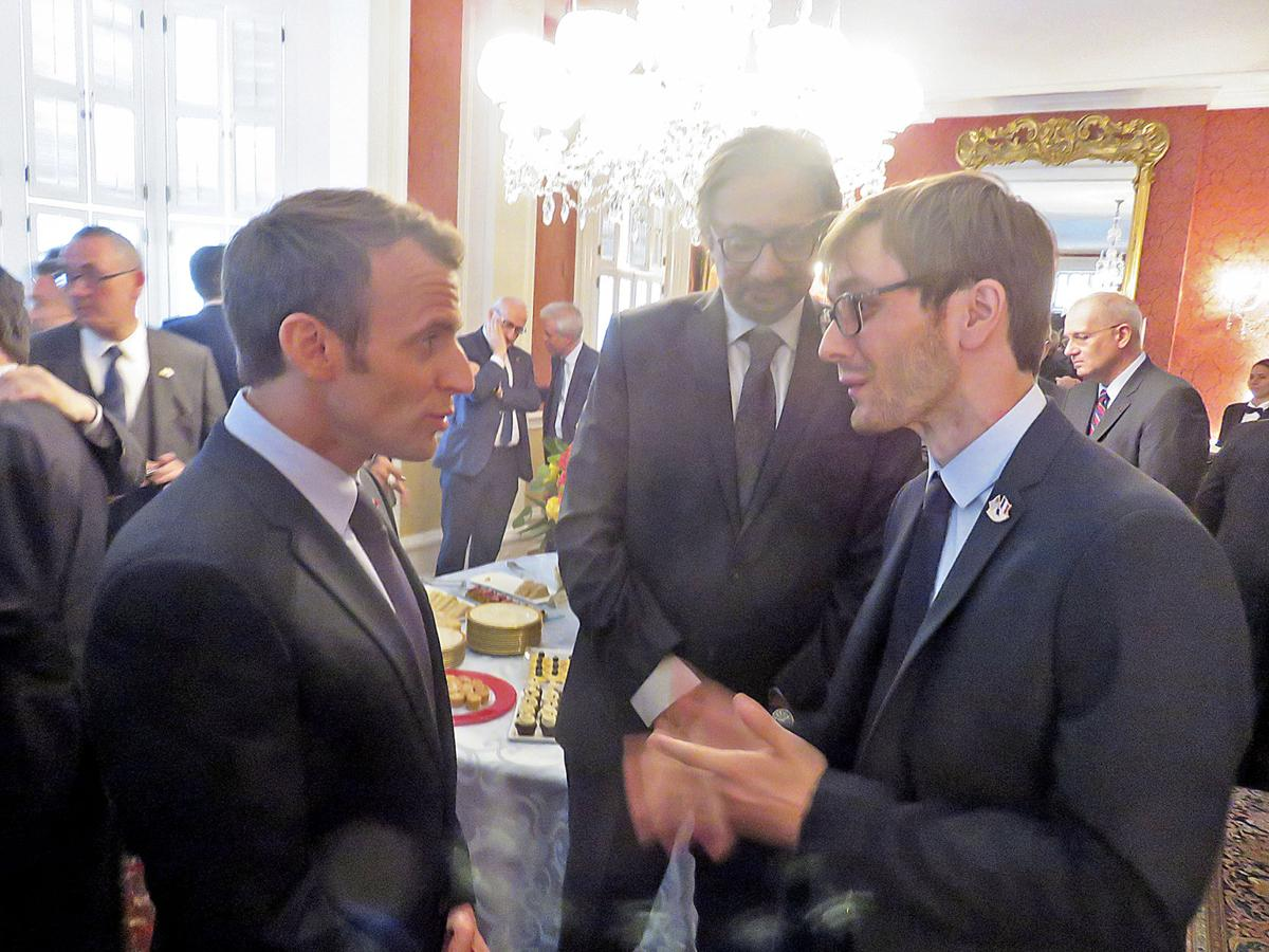 "Julien Icher with French President Emmanuel Macron during an official French visit to Washington, DC in April 2018. ""I wish here to commend your strong engagement in favor of reinforcing the historical bonds of friendship that have united France and the United States and of which Lafayette is forever the emblematic symbol."" -President Macron to Julien Icher"
