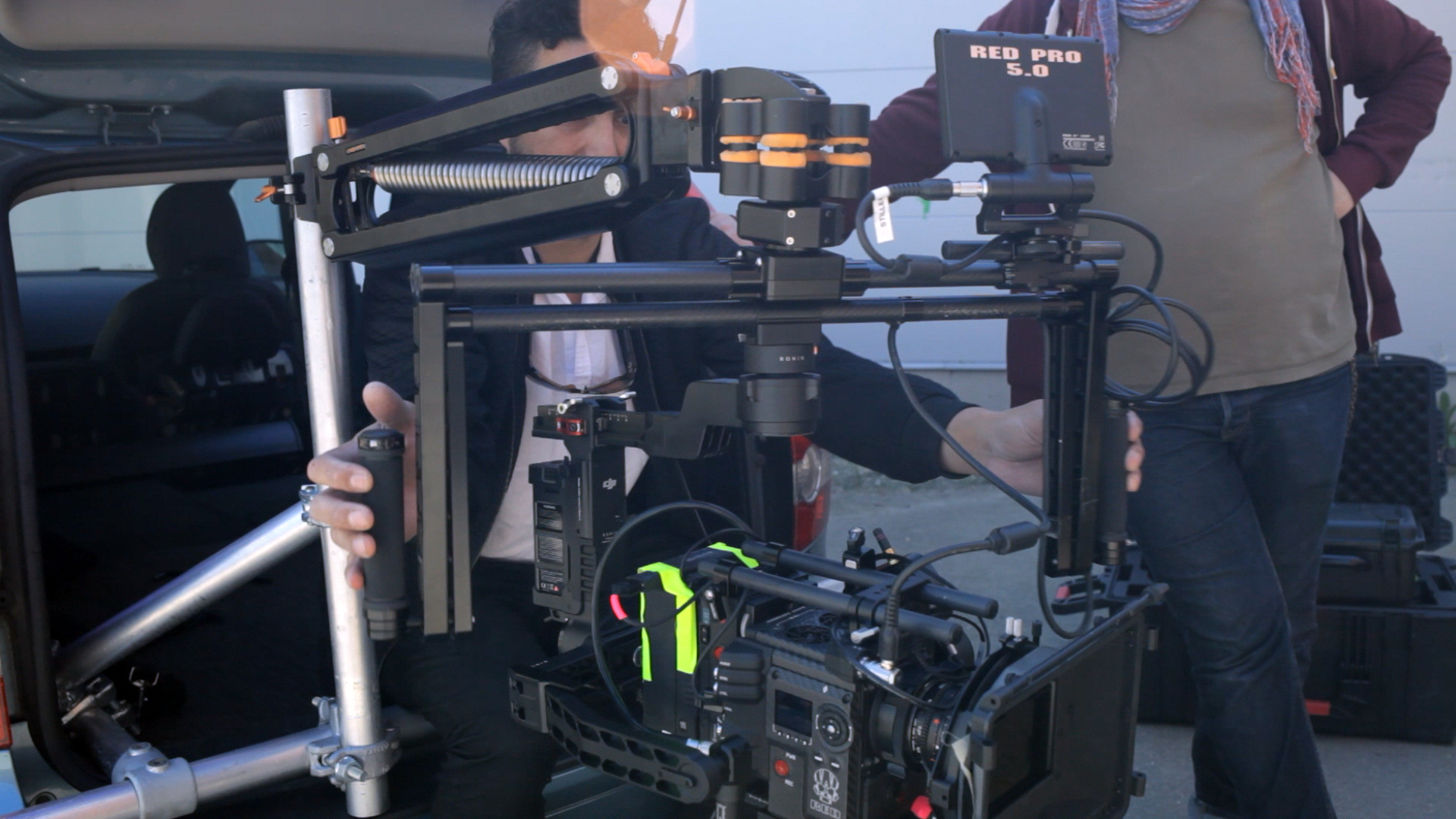 The Nostromo attached to a simple speed rail rig for a car shot.