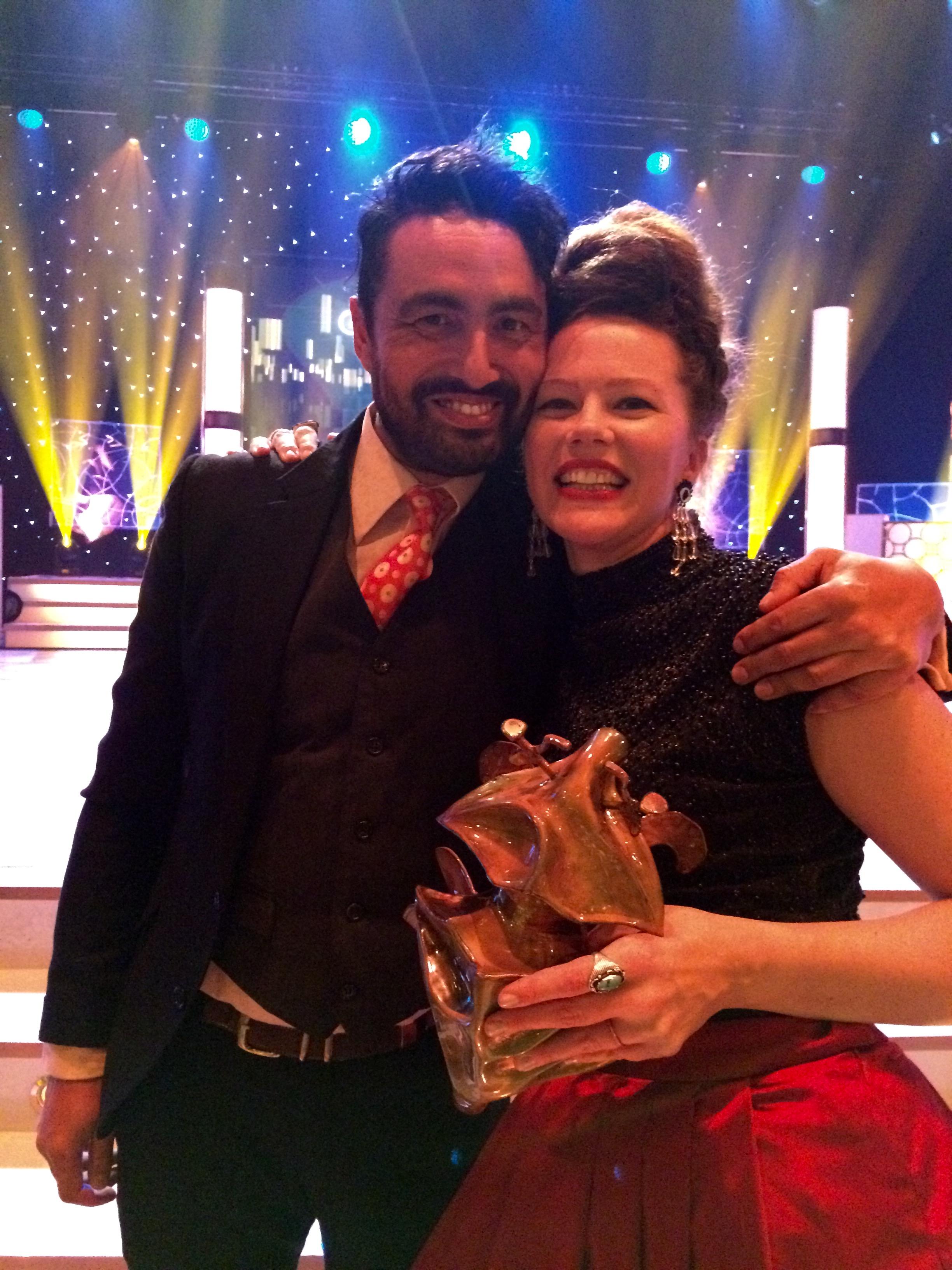 Marcus and Mia with Mia's Guldbagge (Swedish film award).