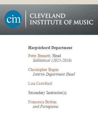 The CIM Harpsichord Faculty, 2015-16 Academic Year