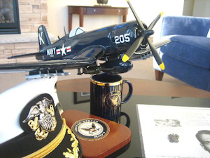Signed Naval Cap and Corsair Model by Medal of Honor Recipient, Tom Hudner