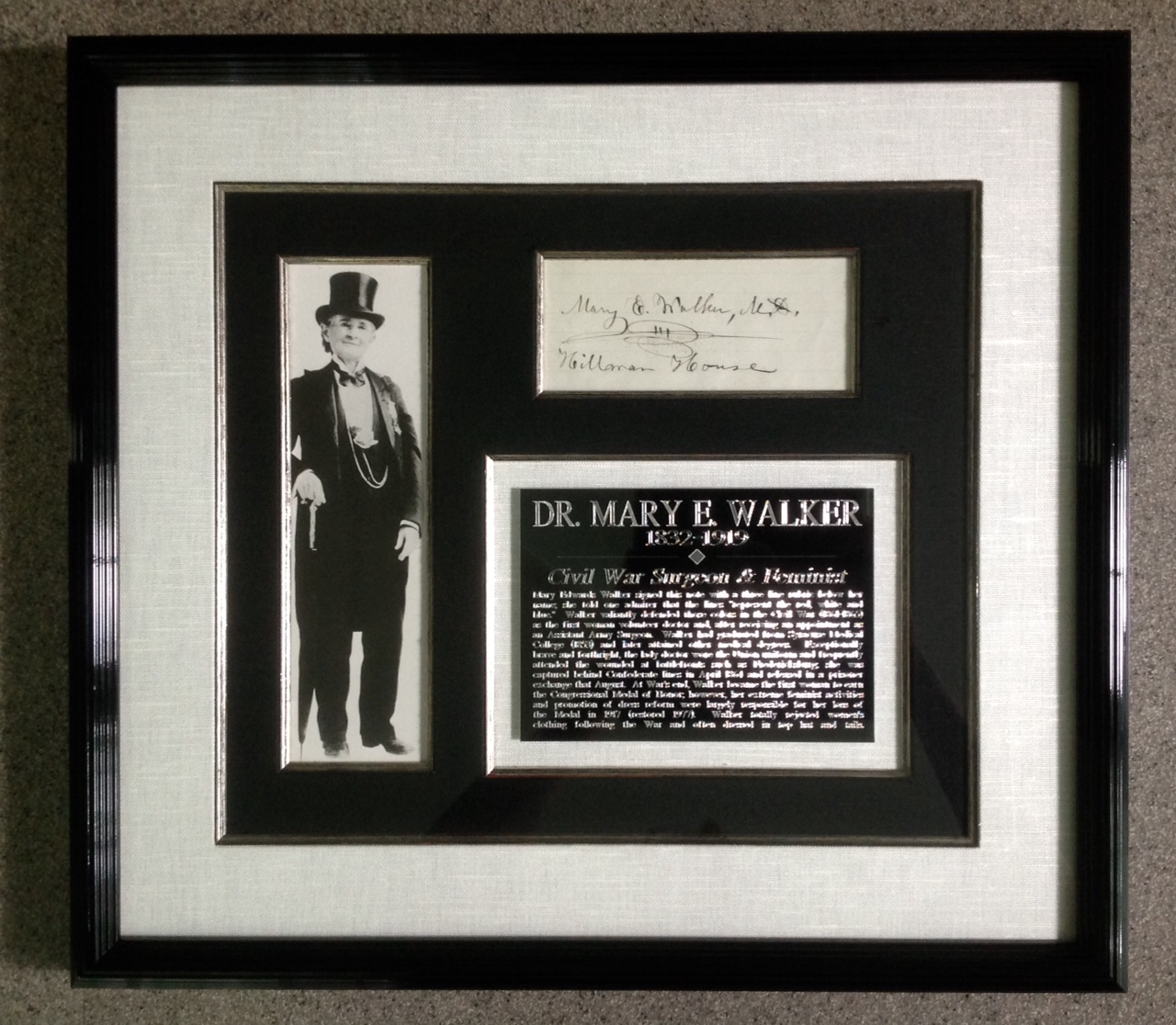 Mary Walker, Medal of Honor Recipient display and signature