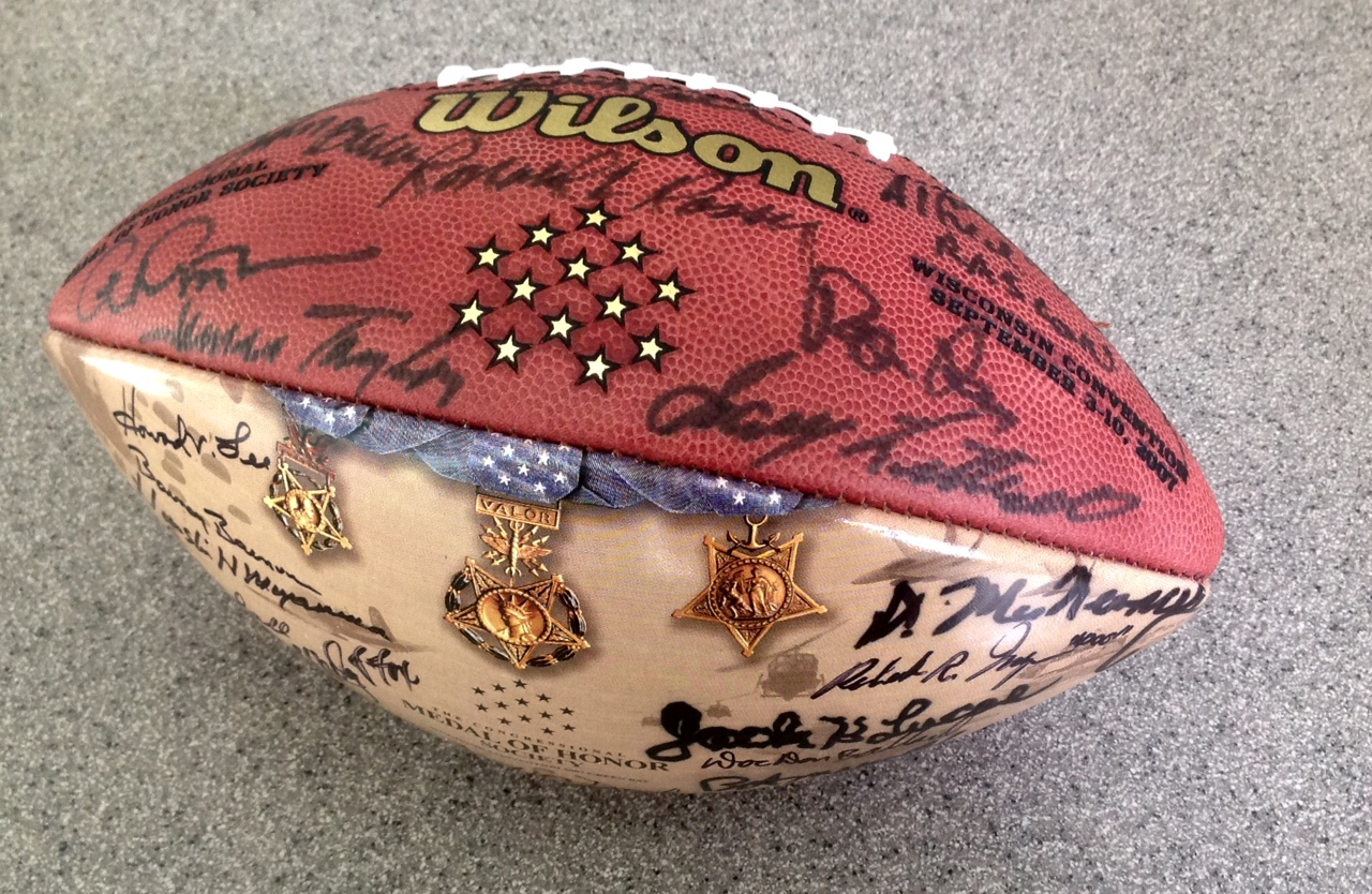 Signed Commemorative Medal of Honor Football