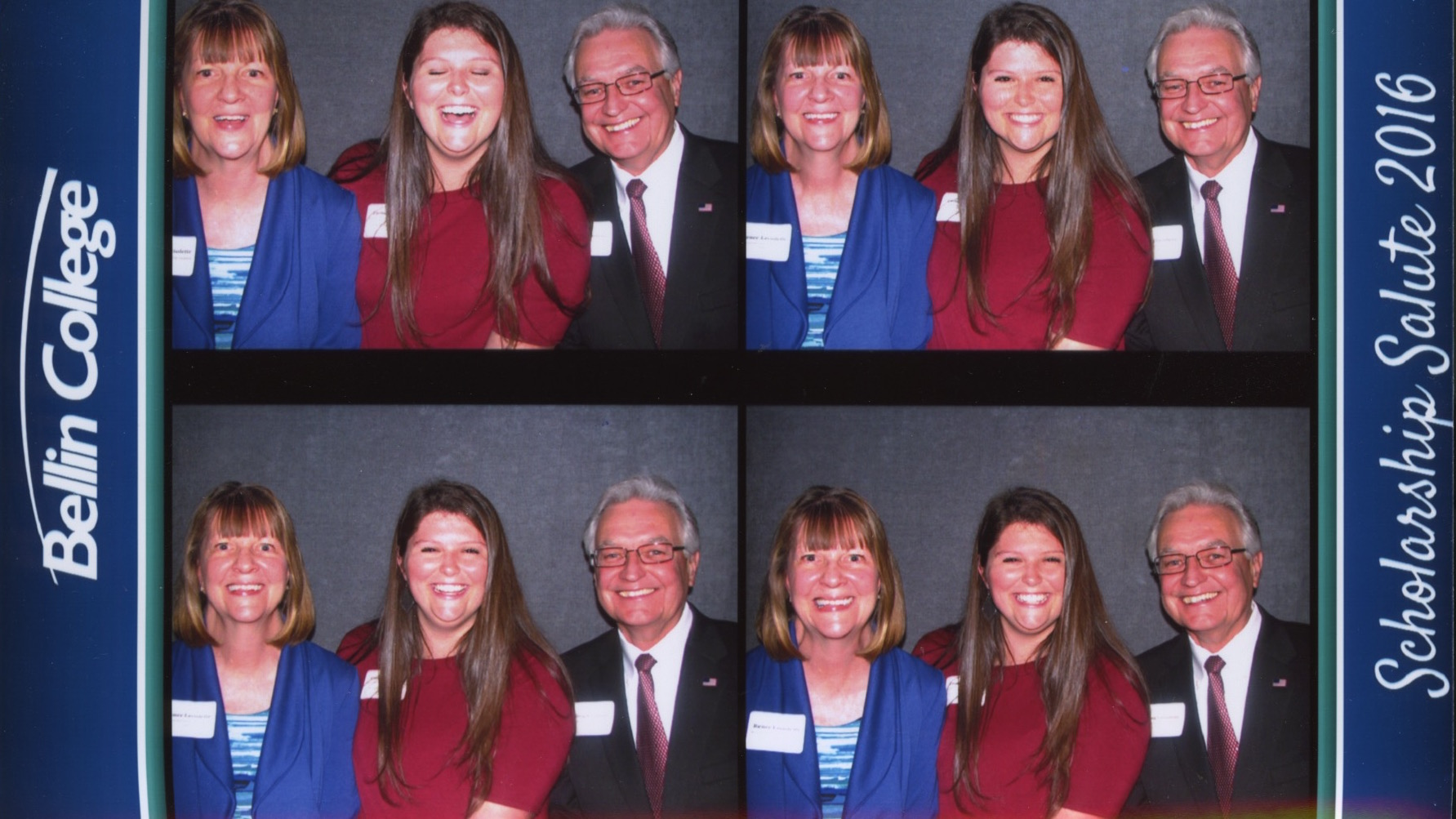 Emma with Doug and Renee LaViolette in the photo booth at the scholarship award reception