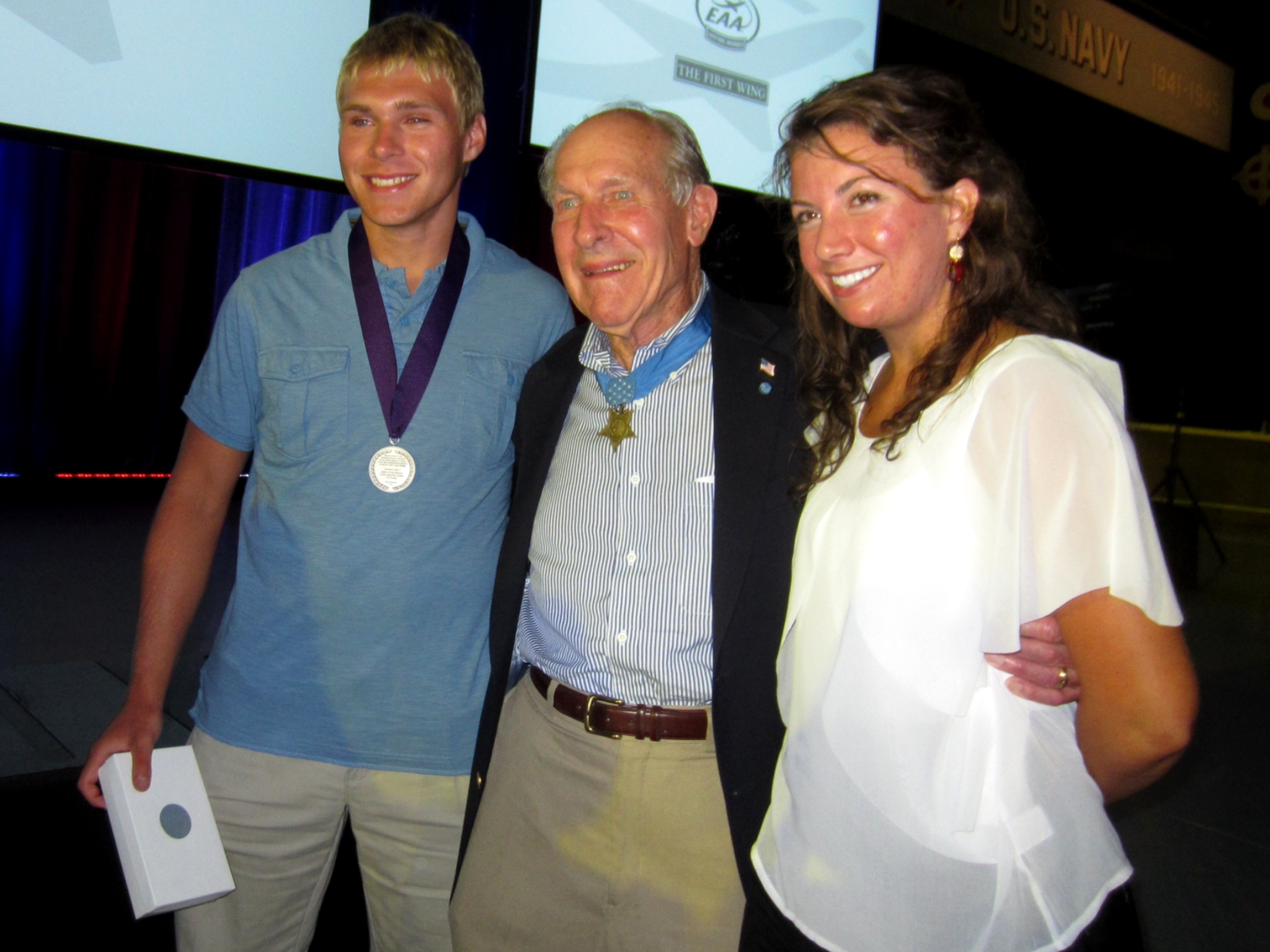 Tom with scholarship recipients, Lucas Benish (2012) and Margaret Viola (2011)