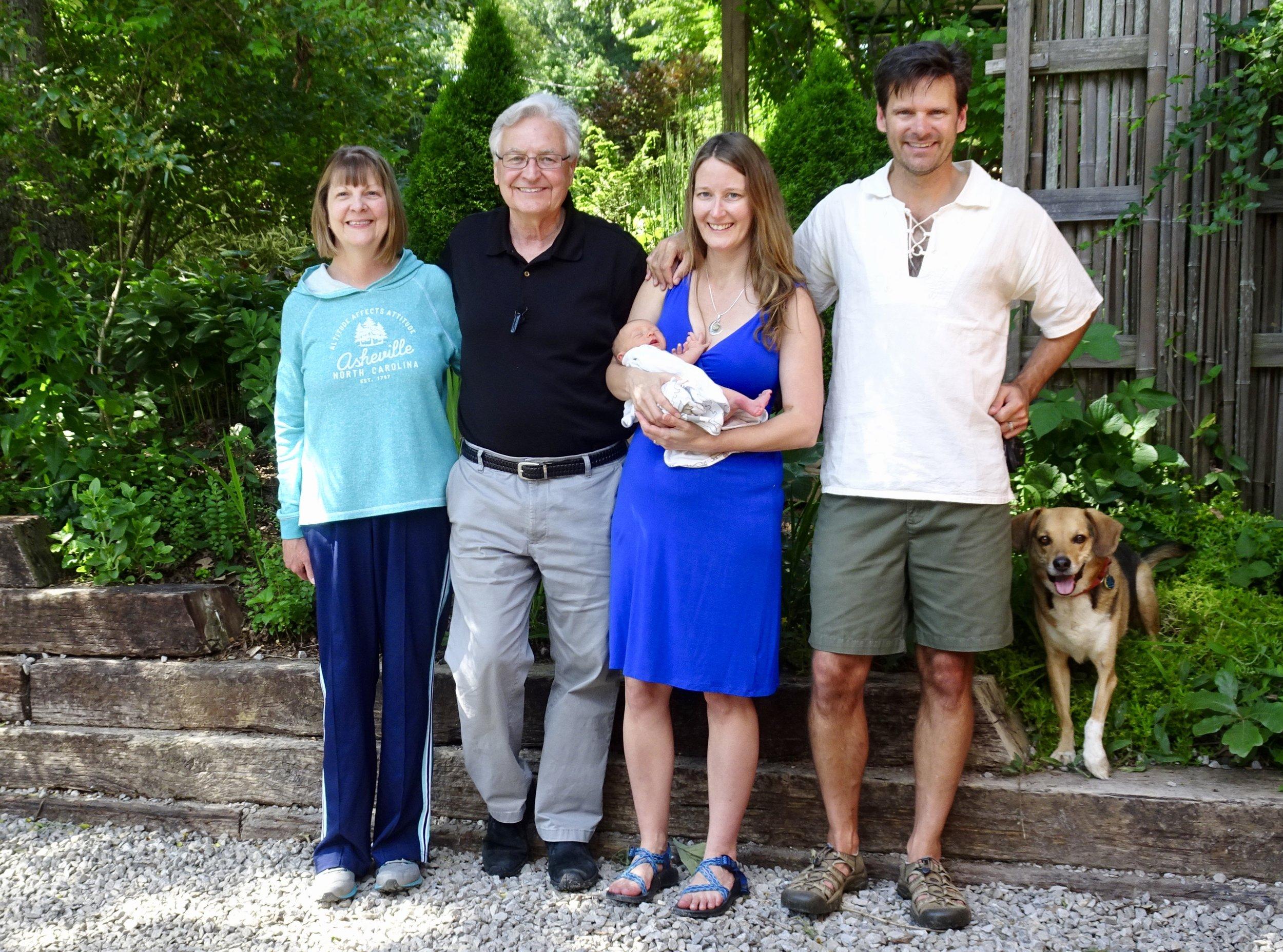 Grandparents Renee and Doug, Kim, Walker, Isaiah and El Guapo