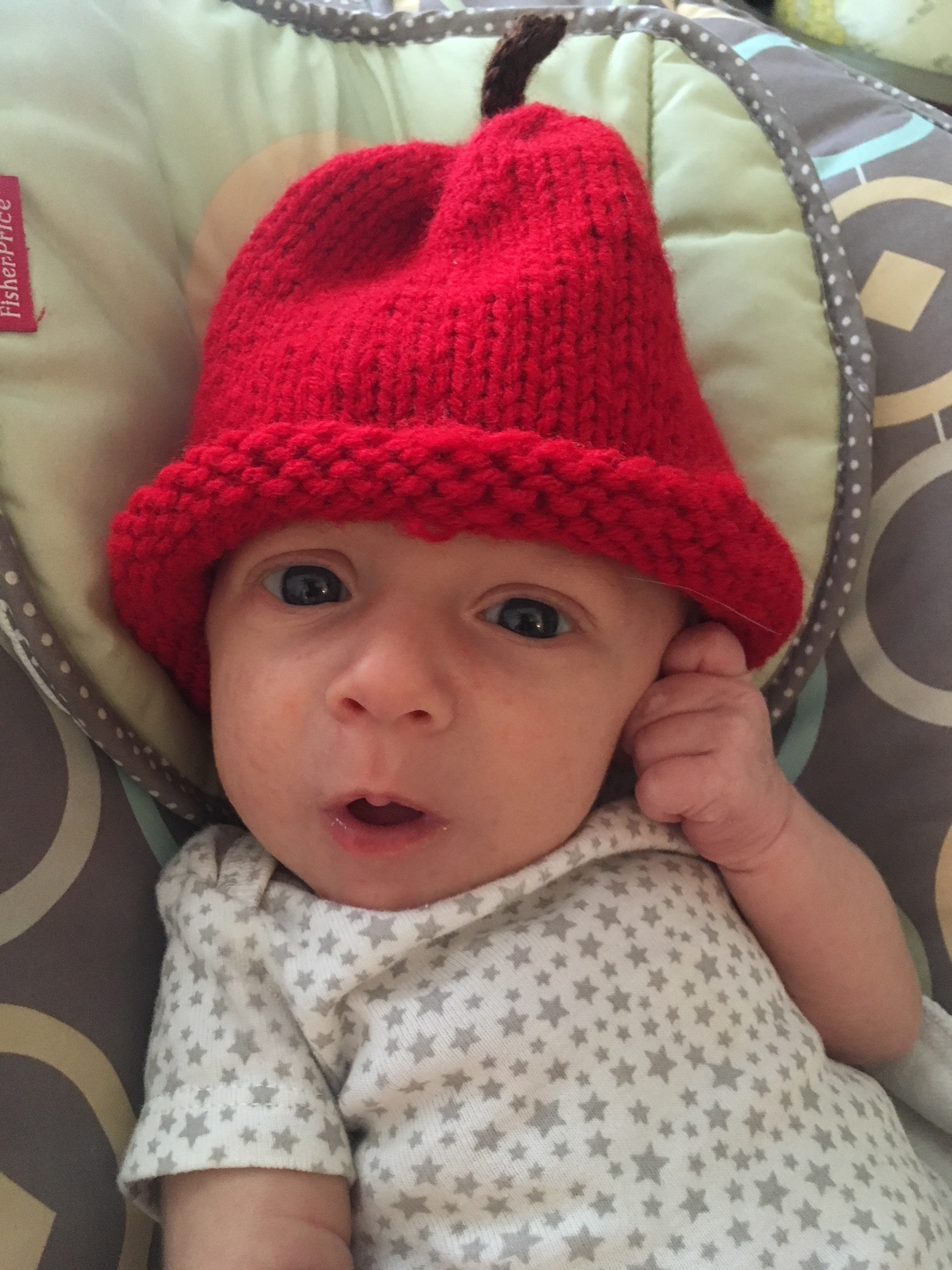 Kim LaViolette Mosteller's son, Walker in Marion's handmade apple hat... he has room to grow into it for the winter months ahead!