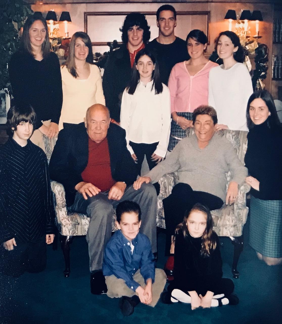 Carl and Helen Kratzer with their 11 grandkids