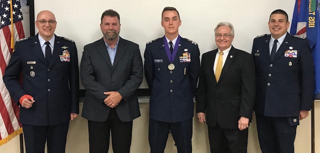 Left to right: Lt Col. Stephen Kohler, David Konrath, Matthew Niemi, Doug LaViolette and Lt Col Robert Koehler, Northeast Group Commander, WI Wing CAP
