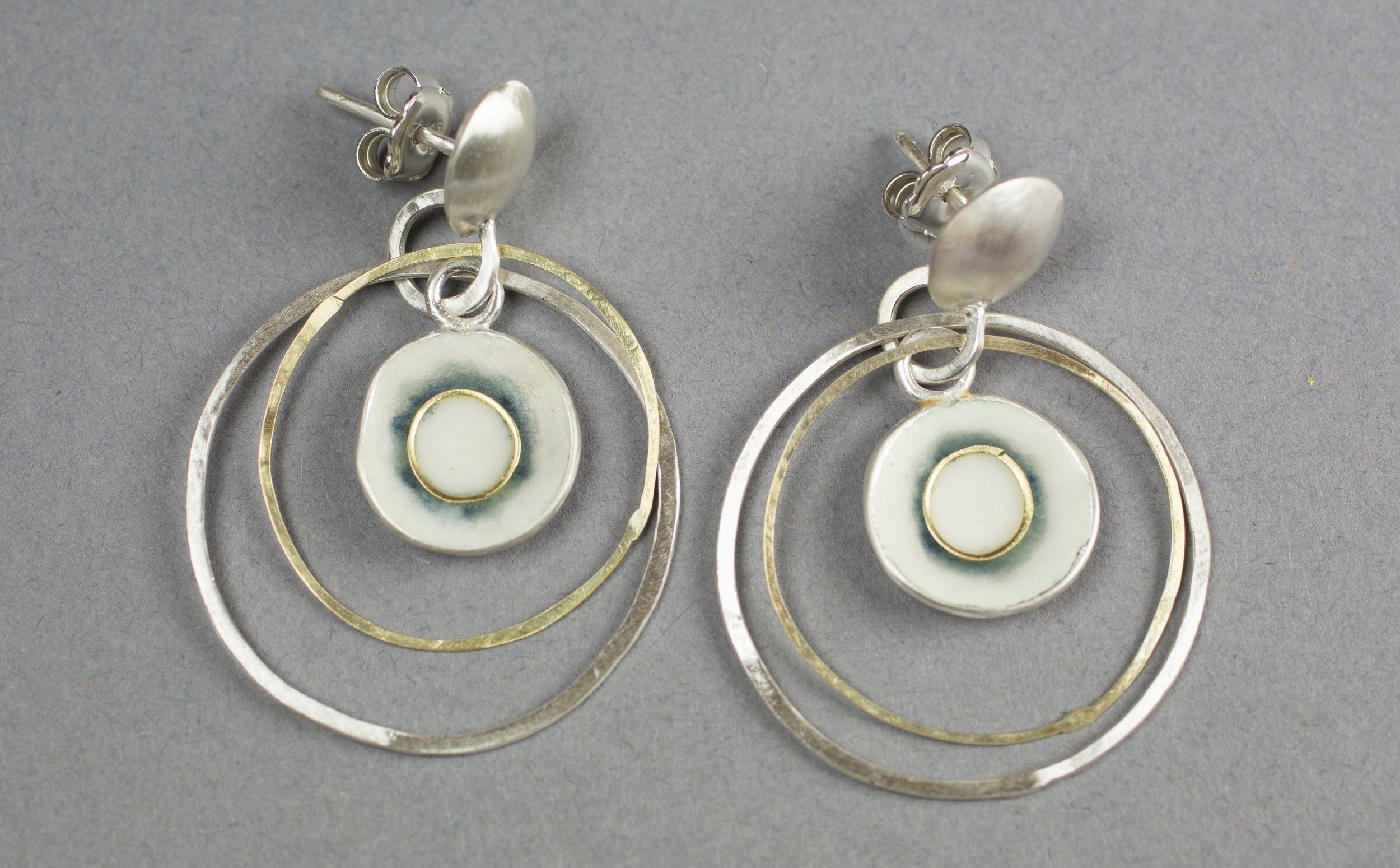 Opal white and graphite hoop earrings