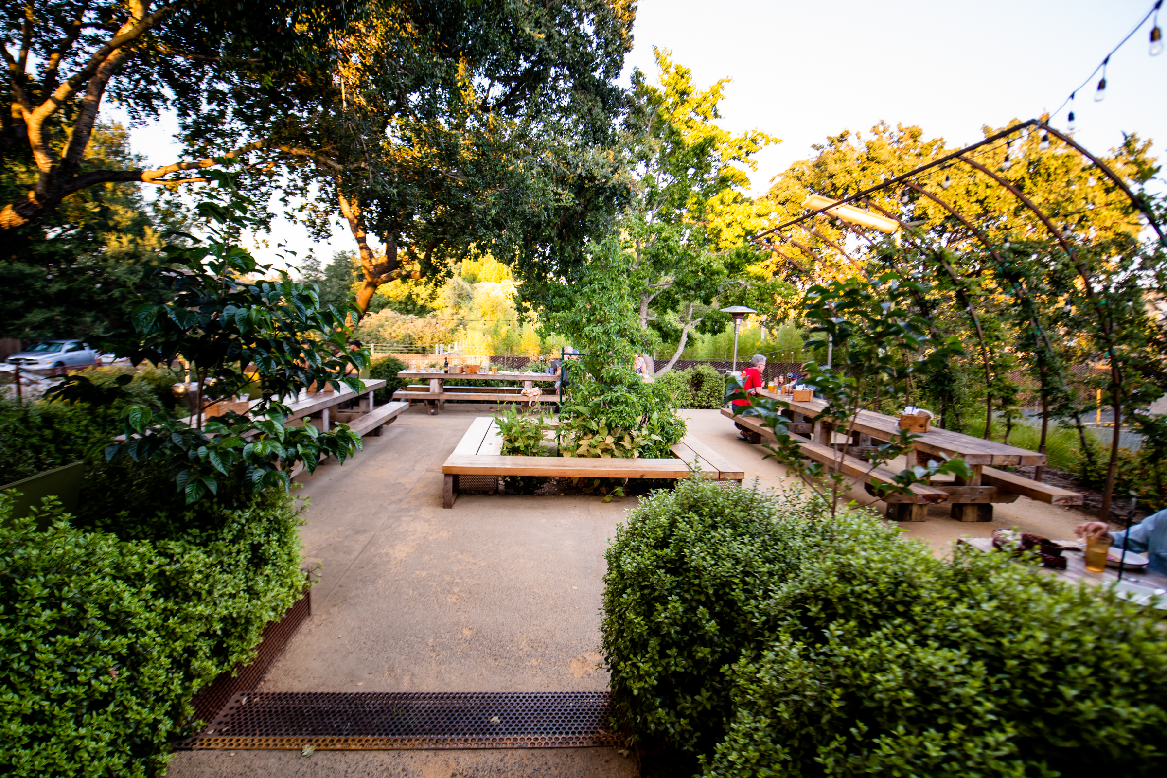 Although our large reservations and events are traditionally held in the Lower Patio area, we do rent out the Upper Patio for exclusive use. This space has three extra-large picnic-style tables that seat up to 20 each in addition to large and small tables, with seating for up to 80 people. Pricing varies based on time, day, and month of the year.