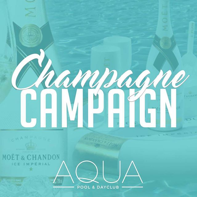 "Are you down to join the ""Champagne Campaign?! 🍾 If you are, come by for the launch of @aquadayclub 6/10! ☀️ #ChampagneSzn #RoseAllDay #AquaDayClub Tag some friends below that deserve some champagne! VIP Inquiries please email: Info@AquaDayClub.com - This is the last week for $25 Open Rosé Bar Tickets"