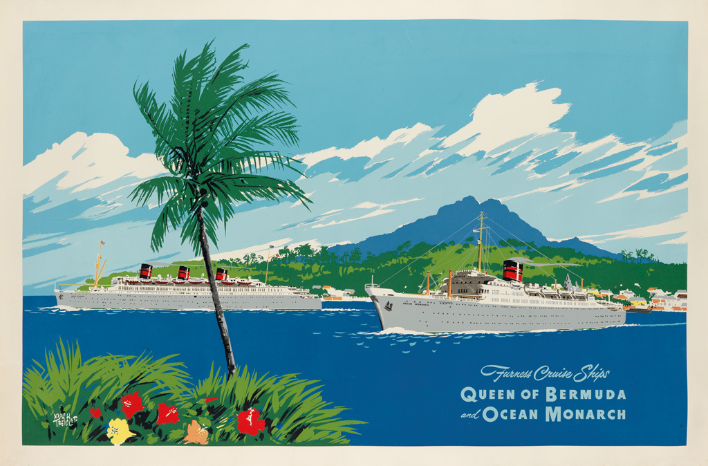Furness Cruise Ships | Queen of Bermuda and Ocean Monarch by Adolph Treidler