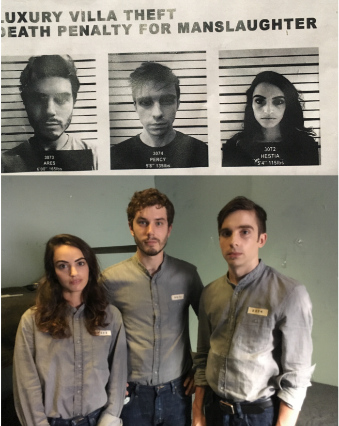 With fellow actors Alex Berenbaum and Phil Gillen, on set as siblings in a totalitarian jail cell