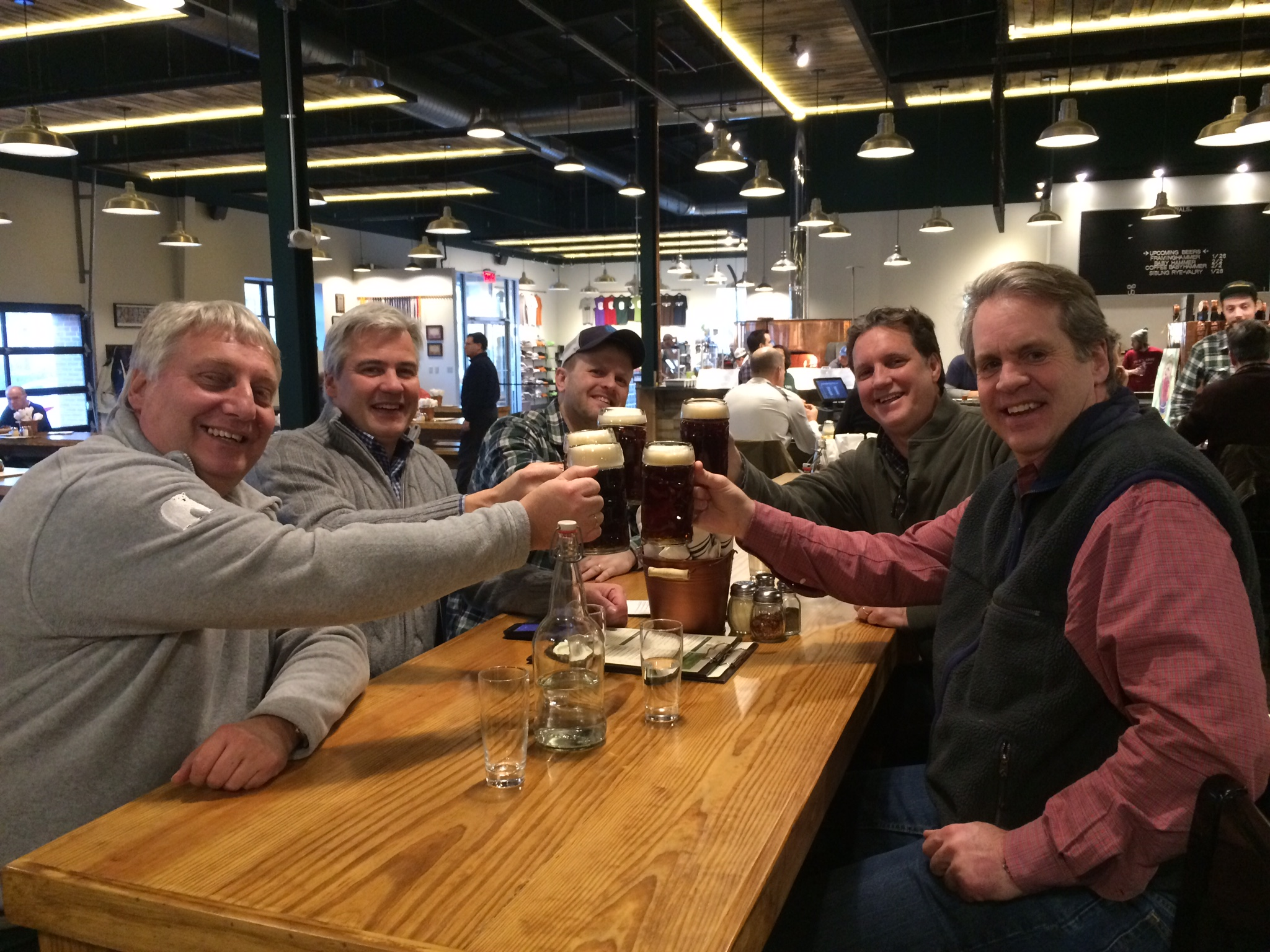 Jack Hendler, Jack's Abby shares a Red Tape Lager with Markus Becker, Stephan Bergler, Mark and Mike - Prost!