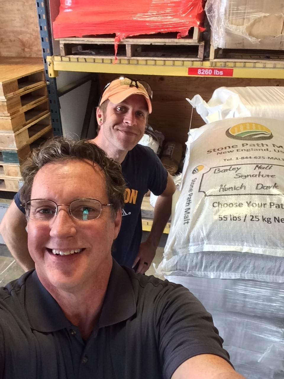 Ryan Thompson, Brewer at Harpoon takes a selfie with Mike and some Signature Munich Dark from Stone Path Malt