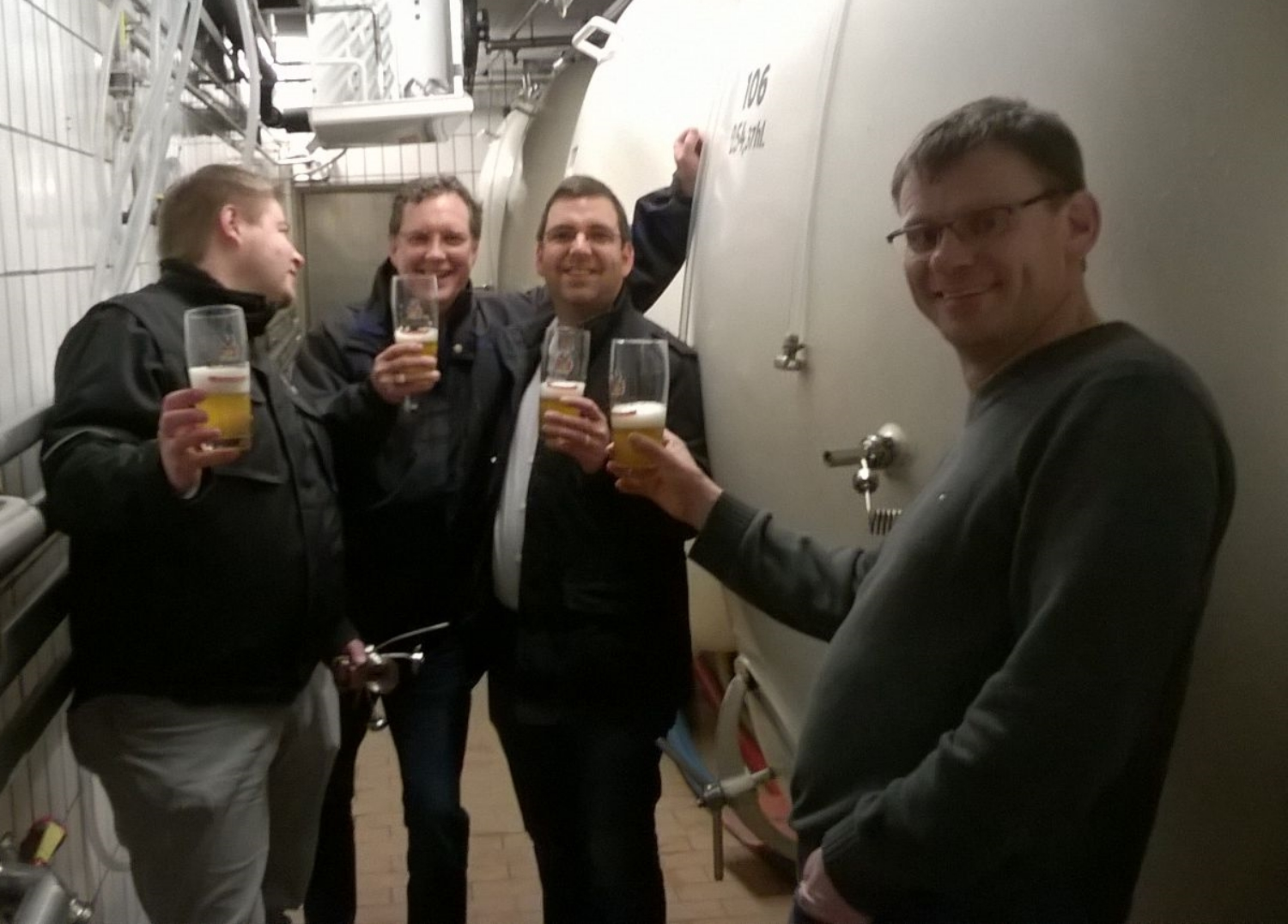 Matthias, Master Maltster and Mike on collaboration assignment with Stefan Hertz and Benjamin Kloos, Master Brewers, Kitzmann Brewery - Prost!