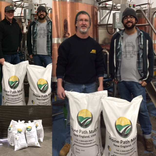 Adam Pearson and Pat Auclair of Merrimack Ales taking in a delivery of Stone Path Malt - Drink Local!