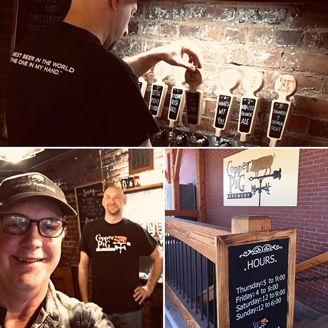 Great beer lineup at Copper Pig Brewery in Lancaster, NH. Michael Holland, owner & brewer loves brewing with #noreastgold Head north and check them out🍺. . . #spmalt #nhcraftbeer  #brewedwithstonepathmalt