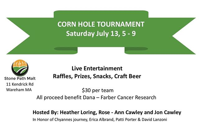 Mark your calendars! July 13th 5-9 in the Tap-Room for a #cornholetournament. Hosted by Heather Loring, Rose-Ann & Jon Cawley to support @danafarber Cancer Institute.