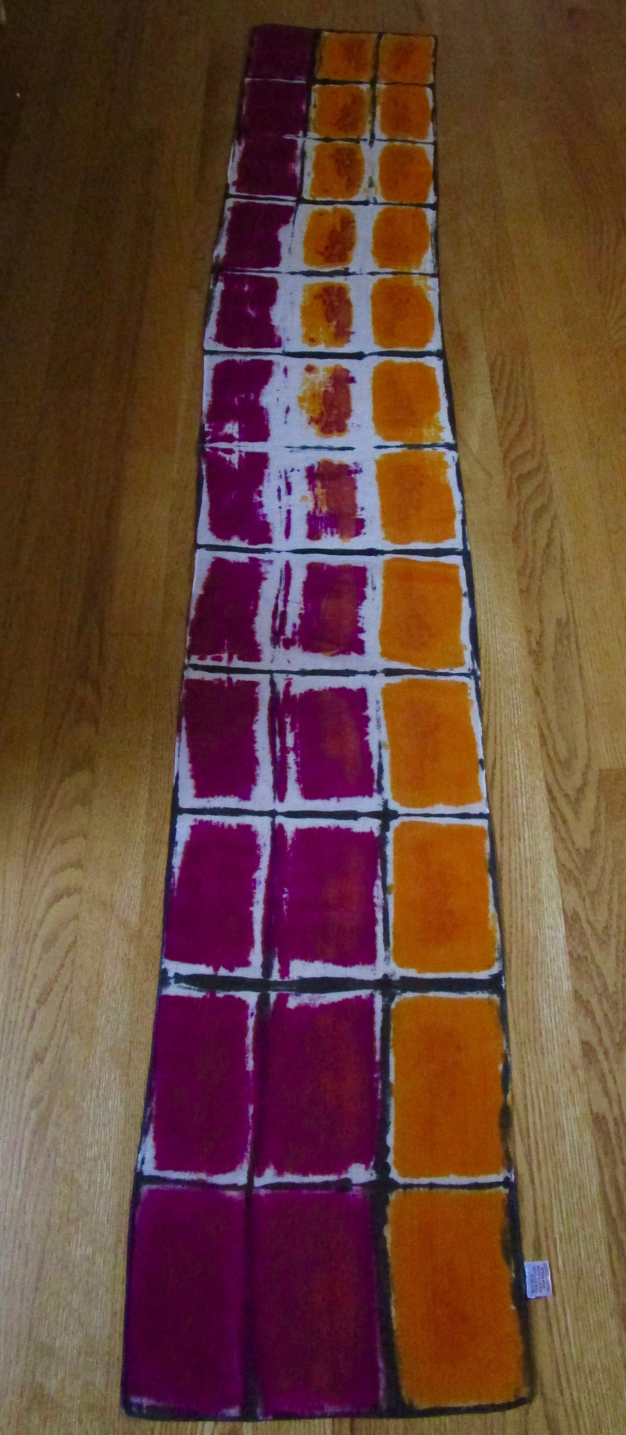 "Window Series 1  Hand printed 16"" x 87"" Silk/Cotton"