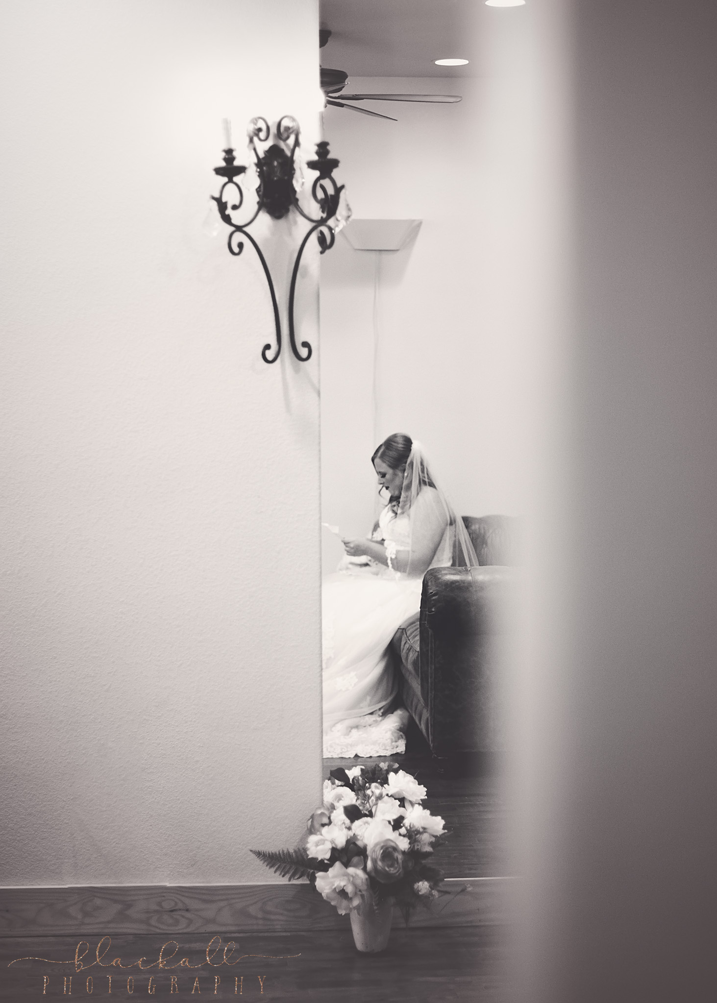 Reading a sweet letter from her groom