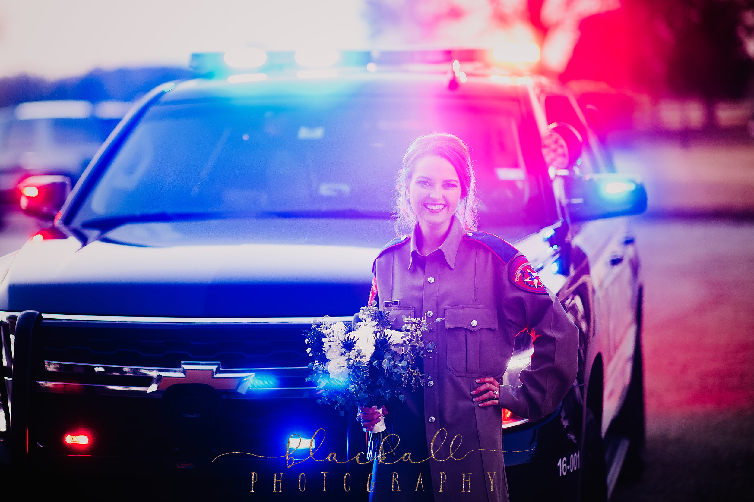 Thank you to Parker PD for being so sweet and letting our future State trooper's wife get a shot in front of your vehicle... with lights!!