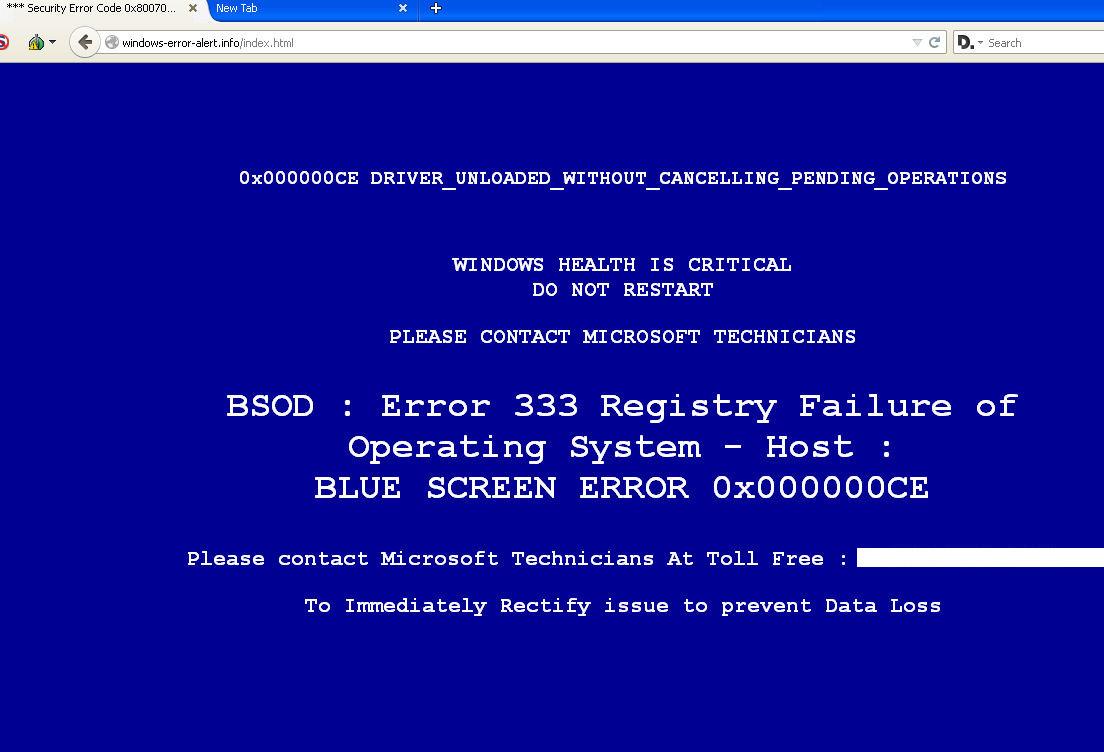 Browser based fake BSOD