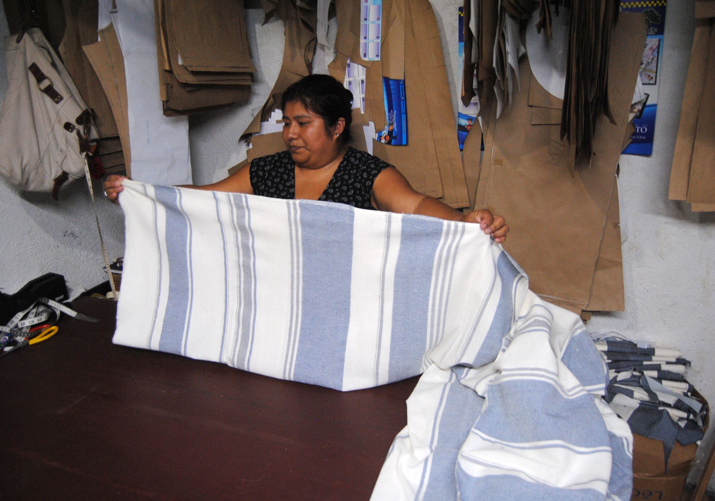 Irma Sophia in her sewing studio in her house. Cuidad Vieja, Guatemala