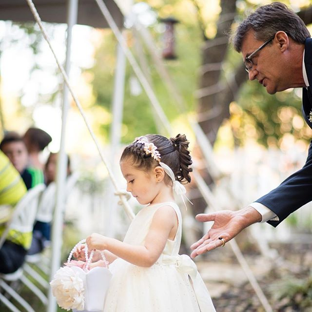 """Off you go now"" #flowergirl #fatherofthebride #ceremony #outdoorwedding #princess #reallife  #ilovemyjob"