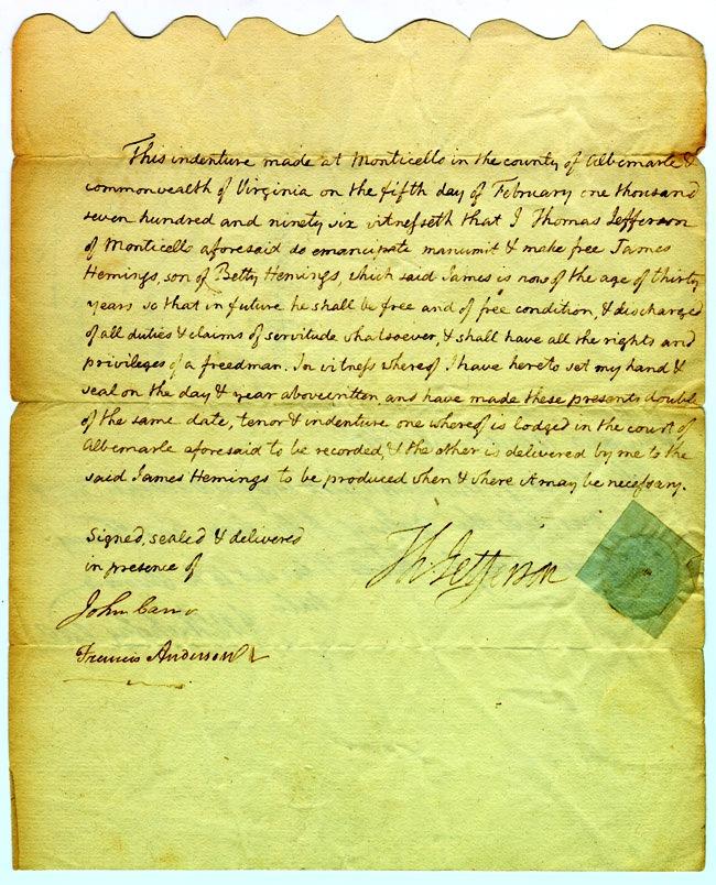 Deed of Manumission granted to James Hemings