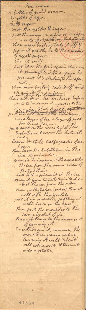 Hemings' ice cream recipe, often misattributed to Thomas Jefferson.