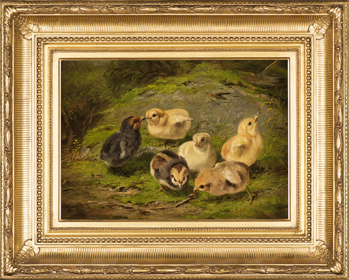 Chickens , 1865 Oil on artistboard, 10 x 14 in., signed and dated lower right: A. F. Tait / 1865 Price: $18,000  Inquire about this work