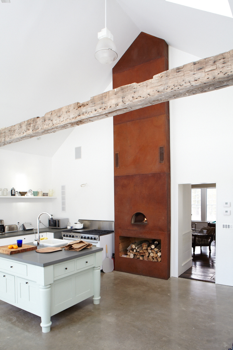 Large wood burning pizza oven in the kitchen at the Floating Farmhouse Catskills vacation rental in upstate New York.