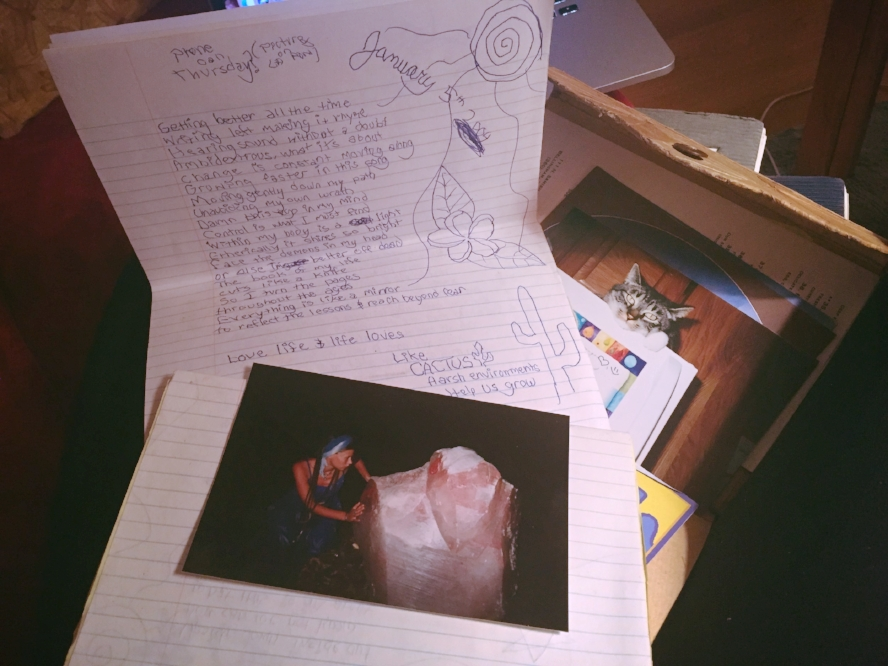 Journal notes written left handed and a random photo of me with this huge piece of rose quartz at some party some night on the island of Kauai during that same time period. Life is funny.
