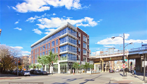 The Chicago transit-oriented development ordinance made this apartment building possible on a former empty lot next to the Paulina Brown Line station—people instead of concrete.