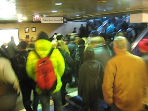Commuters waiting to get out of Union Station to get to their jobs