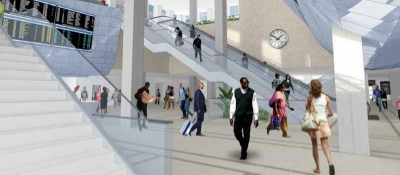 Rendering of a renovated Union Station with wider and better access for commuters — funded with new Transit Facility Improvement Area