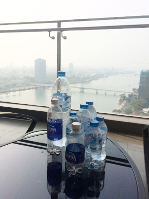 So much plastic — the bottled water I drank on a typical day in Vietnam.